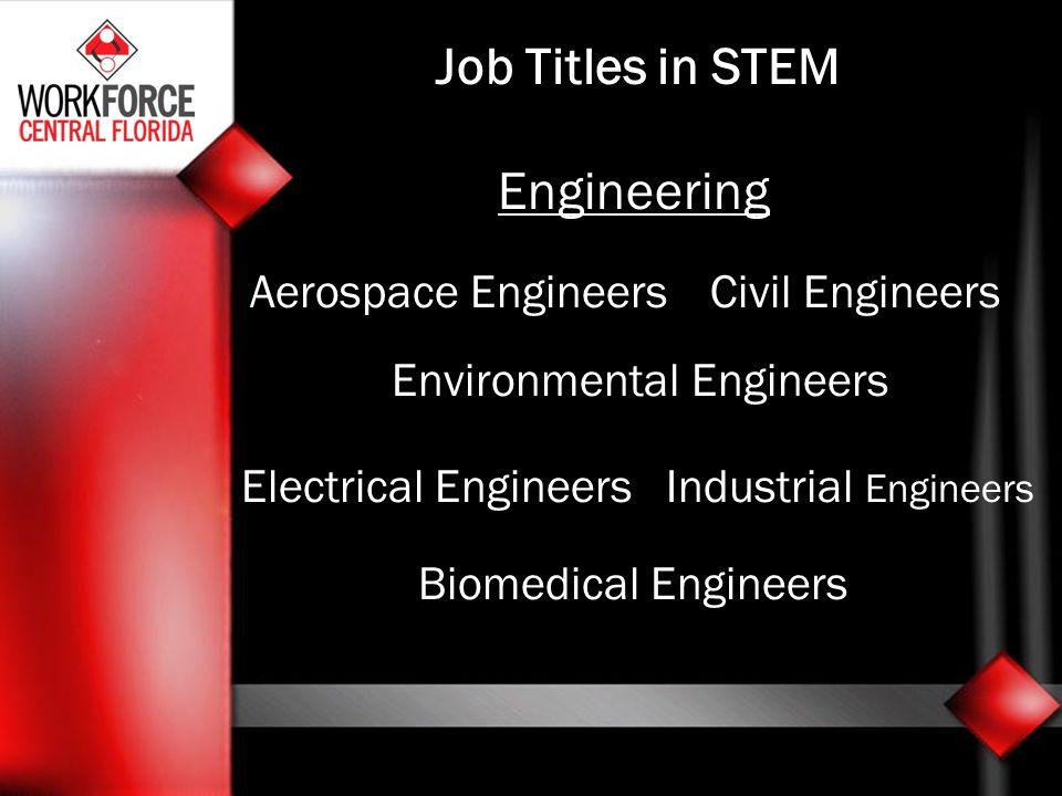 Job Titles in STEM Engineering Aerospace EngineersCivil Engineers Environmental Engineers Electrical EngineersIndustrial Engineers Biomedical Engineers