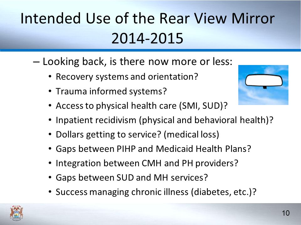 10 Intended Use of the Rear View Mirror 2014-2015 – Looking back, is there now more or less: Recovery systems and orientation.