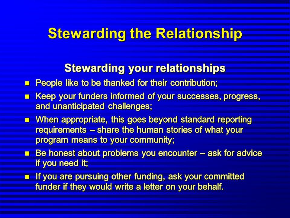 Stewarding the Relationship