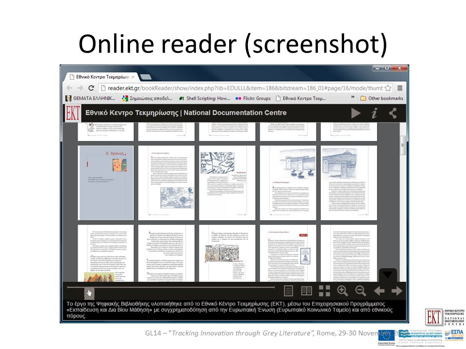 Online reader (screenshot) GL14 – Tracking Innovation through Grey Literature , Rome, 29-30 November 2012