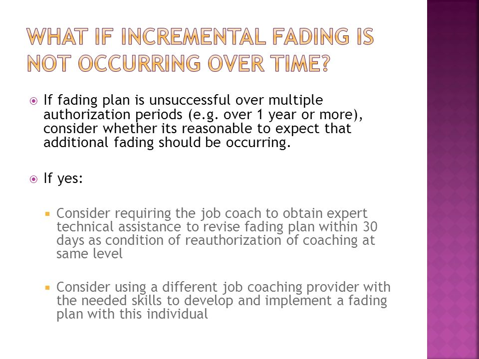  If fading plan is unsuccessful over multiple authorization periods (e.g.