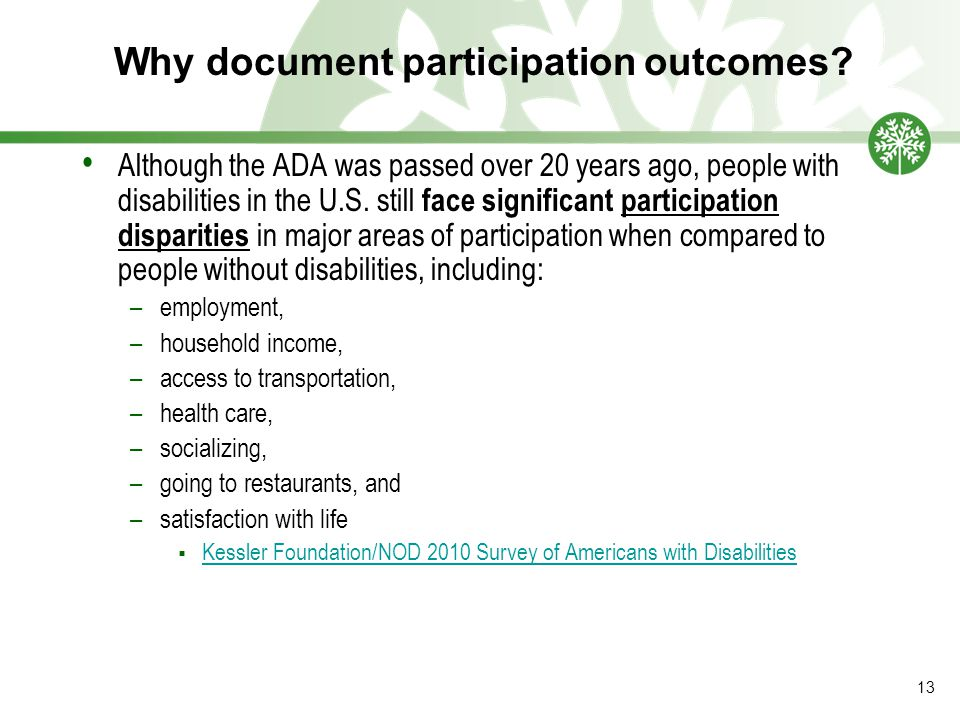 Why document participation outcomes.