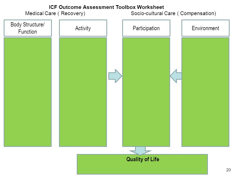 Quality of Life Body Structure/ Function ICF Outcome Assessment Toolbox Worksheet Medical Care ( Recovery) Socio-cultural Care ( Compensation) ActivityParticipationEnvironment 20
