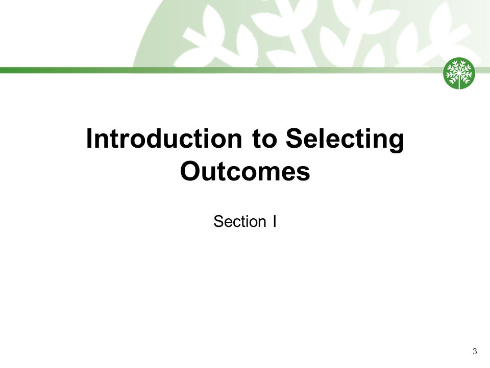 Introduction to Selecting Outcomes Section I 3