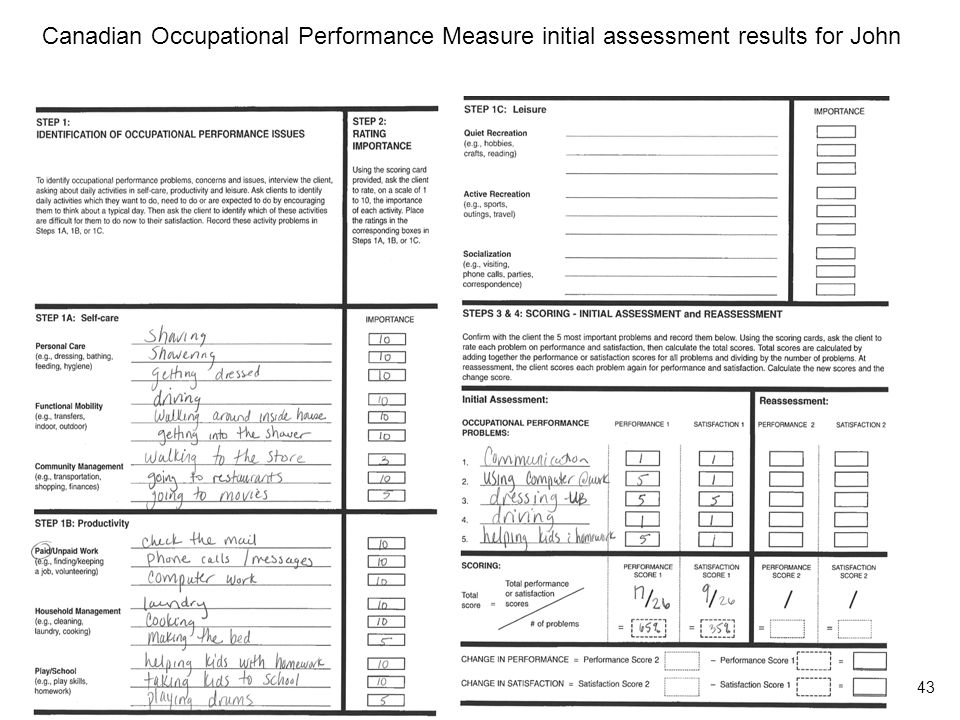 Canadian Occupational Performance Measure initial assessment results for John 43