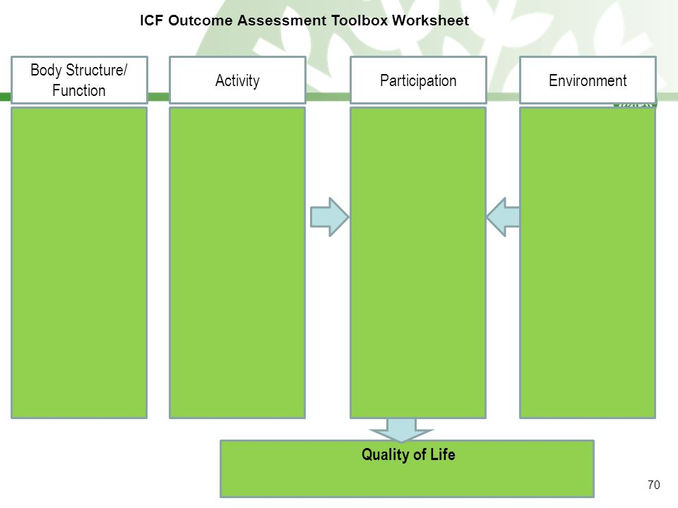 Quality of Life Body Structure/ Function ICF Outcome Assessment Toolbox Worksheet ActivityParticipationEnvironment 70