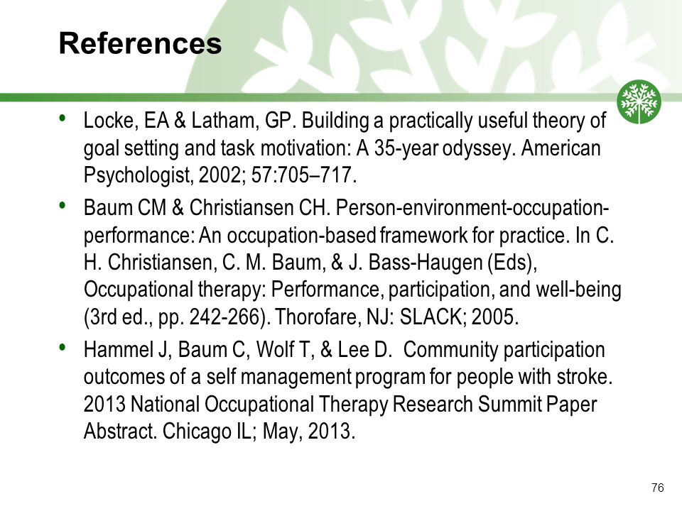 References Locke, EA & Latham, GP.