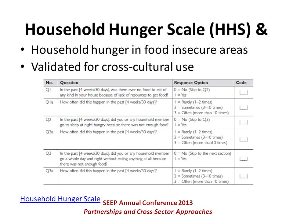 Household hunger in food insecure areas Validated for cross-cultural use Household Hunger Scale SEEP Annual Conference 2013 Partnerships and Cross-Sector Approaches Household Hunger Scale (HHS) &