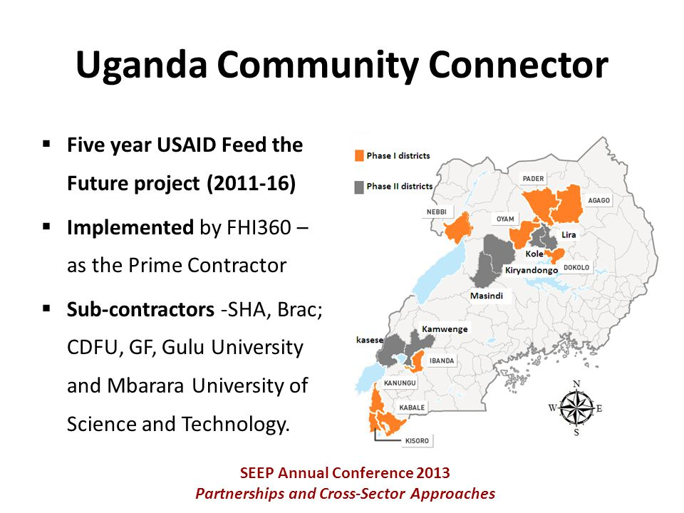  Five year USAID Feed the Future project (2011-16)  Implemented by FHI360 – as the Prime Contractor  Sub-contractors -SHA, Brac; CDFU, GF, Gulu University and Mbarara University of Science and Technology.