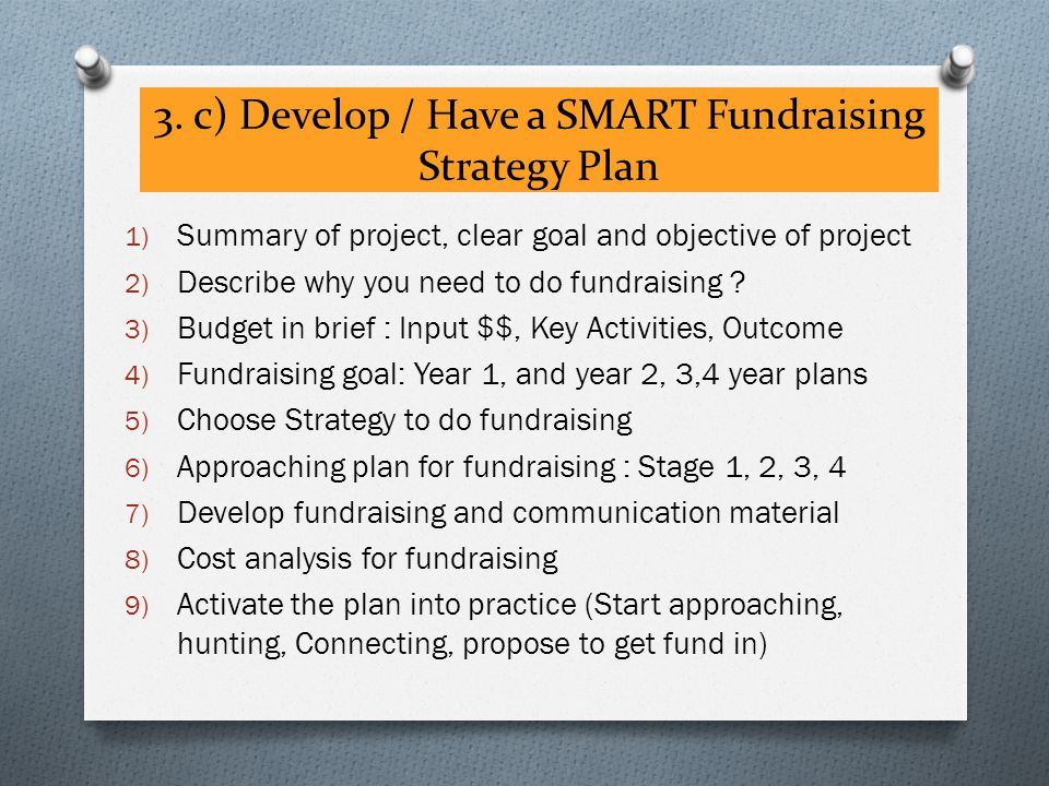 3. c) Develop / Have a SMART Fundraising Strategy Plan 1) Summary of project, clear goal and objective of project 2) Describe why you need to do fundr