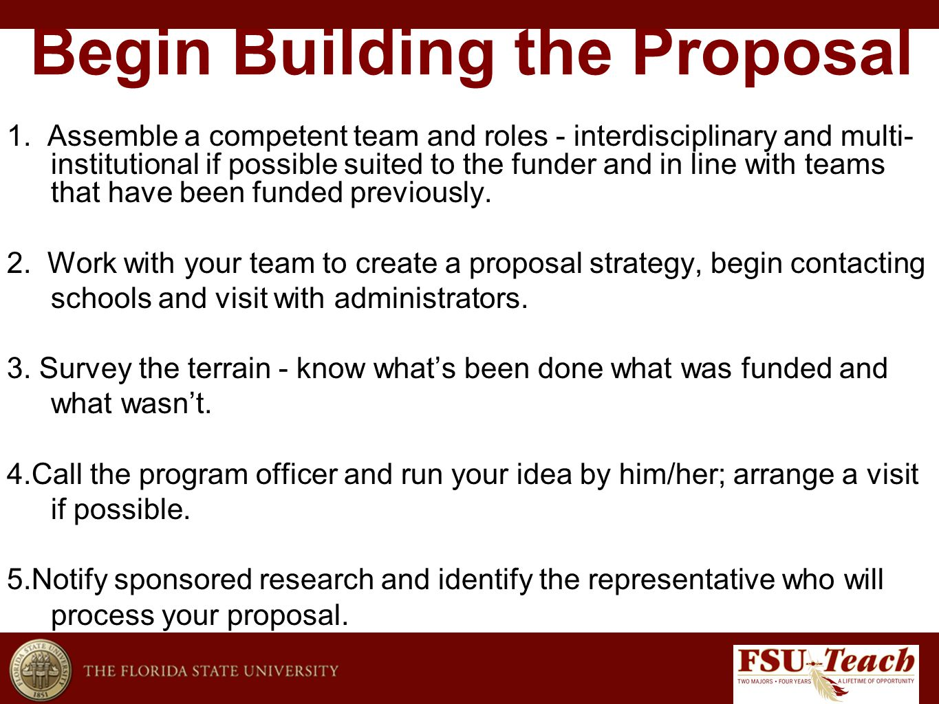 Begin Building the Proposal 1.