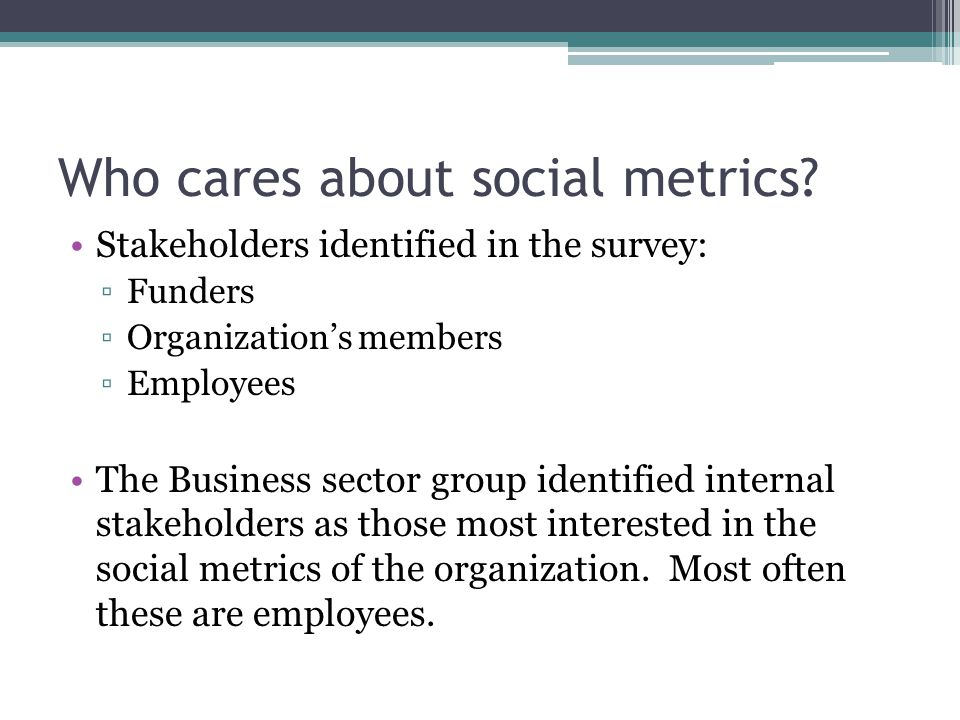 Who cares about social metrics.