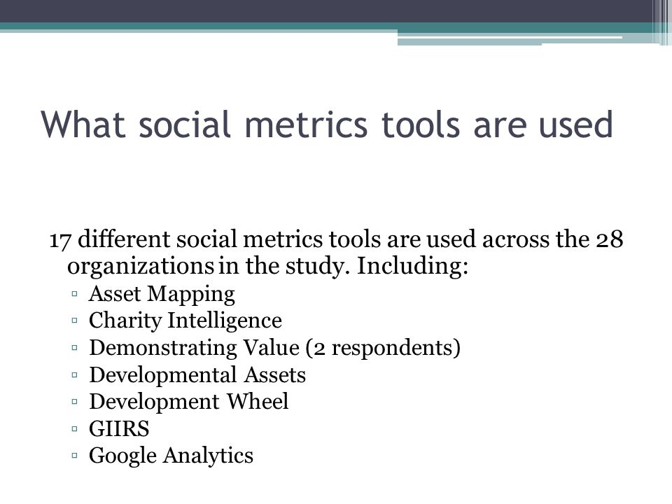 What social metrics tools are used 17 different social metrics tools are used across the 28 organizations in the study.
