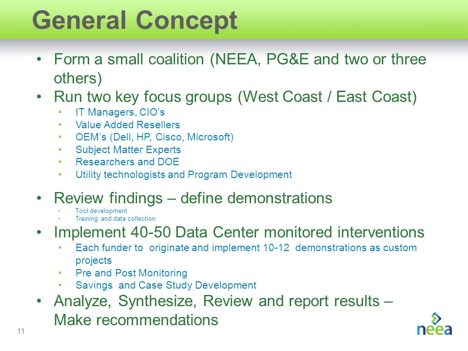 11 General Concept Form a small coalition (NEEA, PG&E and two or three others) Run two key focus groups (West Coast / East Coast) IT Managers, CIO's Value Added Resellers OEM's (Dell, HP, Cisco, Microsoft) Subject Matter Experts Researchers and DOE Utility technologists and Program Development Review findings – define demonstrations Tool development Training and data collection Implement 40-50 Data Center monitored interventions Each funder to originate and implement 10-12 demonstrations as custom projects Pre and Post Monitoring Savings and Case Study Development Analyze, Synthesize, Review and report results – Make recommendations