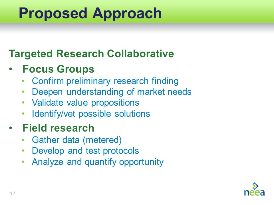 12 Proposed Approach Targeted Research Collaborative Focus Groups Confirm preliminary research finding Deepen understanding of market needs Validate value propositions Identify/vet possible solutions Field research Gather data (metered) Develop and test protocols Analyze and quantify opportunity
