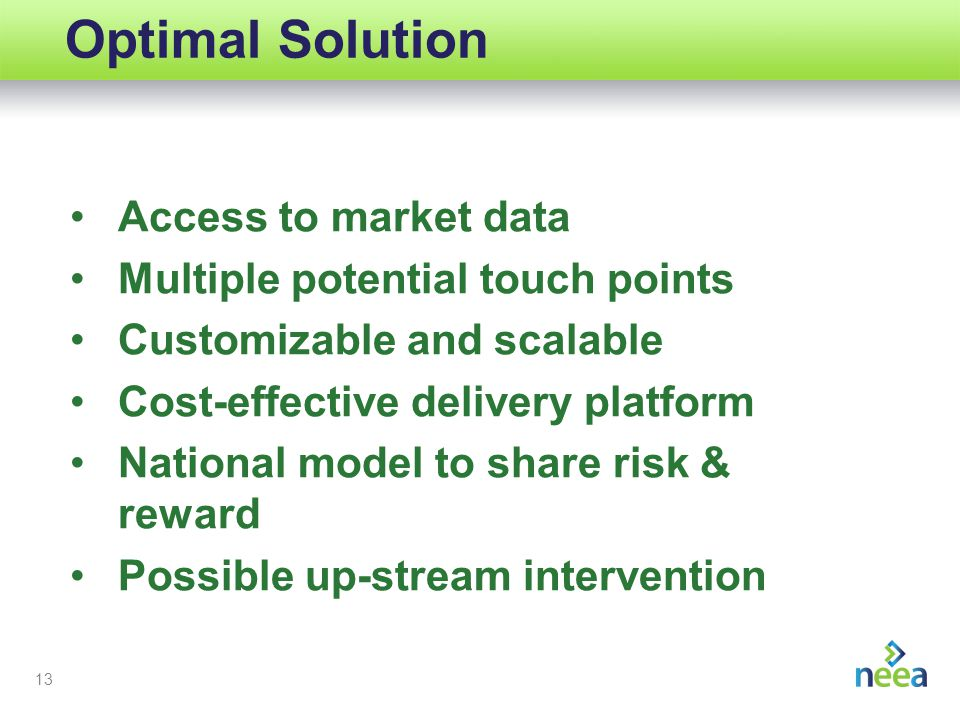 13 Optimal Solution Access to market data Multiple potential touch points Customizable and scalable Cost-effective delivery platform National model to share risk & reward Possible up-stream intervention