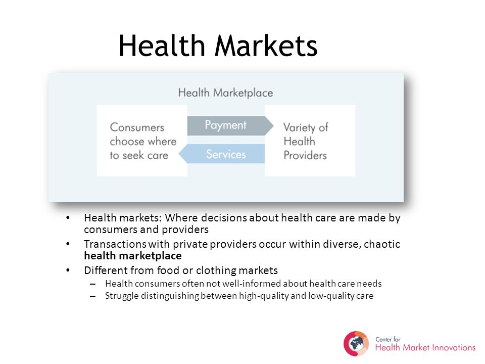 Health Markets Health markets: Where decisions about health care are made by consumers and providers Transactions with private providers occur within diverse, chaotic health marketplace Different from food or clothing markets – Health consumers often not well-informed about health care needs – Struggle distinguishing between high-quality and low-quality care