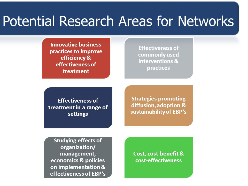 Potential Research Areas for Networks Innovative business practices to improve efficiency & effectiveness of treatment Effectiveness of commonly used