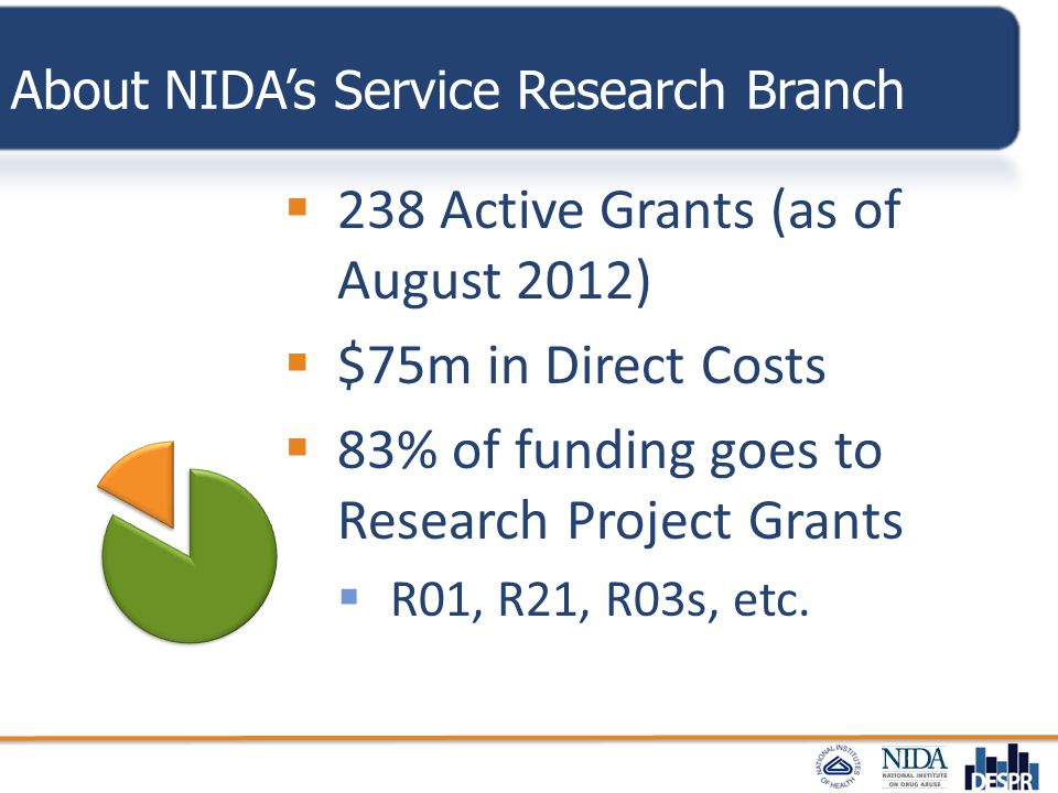 About NIDA's Service Research Branch  238 Active Grants (as of August 2012)  $75m in Direct Costs  83% of funding goes to Research Project Grants 