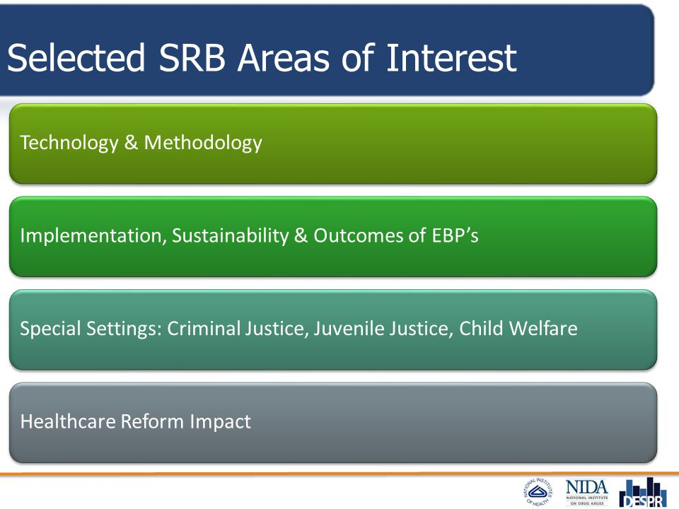 Selected SRB Areas of Interest Technology & Methodology Implementation, Sustainability & Outcomes of EBP's Special Settings: Criminal Justice, Juvenil
