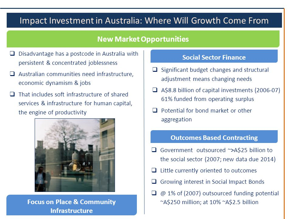 Impact Investment in Australia: Where Will Growth Come From New Market Opportunities  Significant budget changes and structural adjustment means changing needs  A$8.8 billion of capital investments (2006-07) 61% funded from operating surplus  Potential for bond market or other aggregation Social Sector Finance Focus on Place & Community Infrastructure  Disadvantage has a postcode in Australia with persistent & concentrated joblessness  Australian communities need infrastructure, economic dynamism & jobs  That includes soft infrastructure of shared services & infrastructure for human capital, the engine of productivity Outcomes Based Contracting  Government outsourced ~>A$25 billion to the social sector (2007; new data due 2014)  Little currently oriented to outcomes  Growing interest in Social Impact Bonds  @ 1% of (2007) outsourced funding potential ~A$250 million; at 10% ~A$2.5 billion