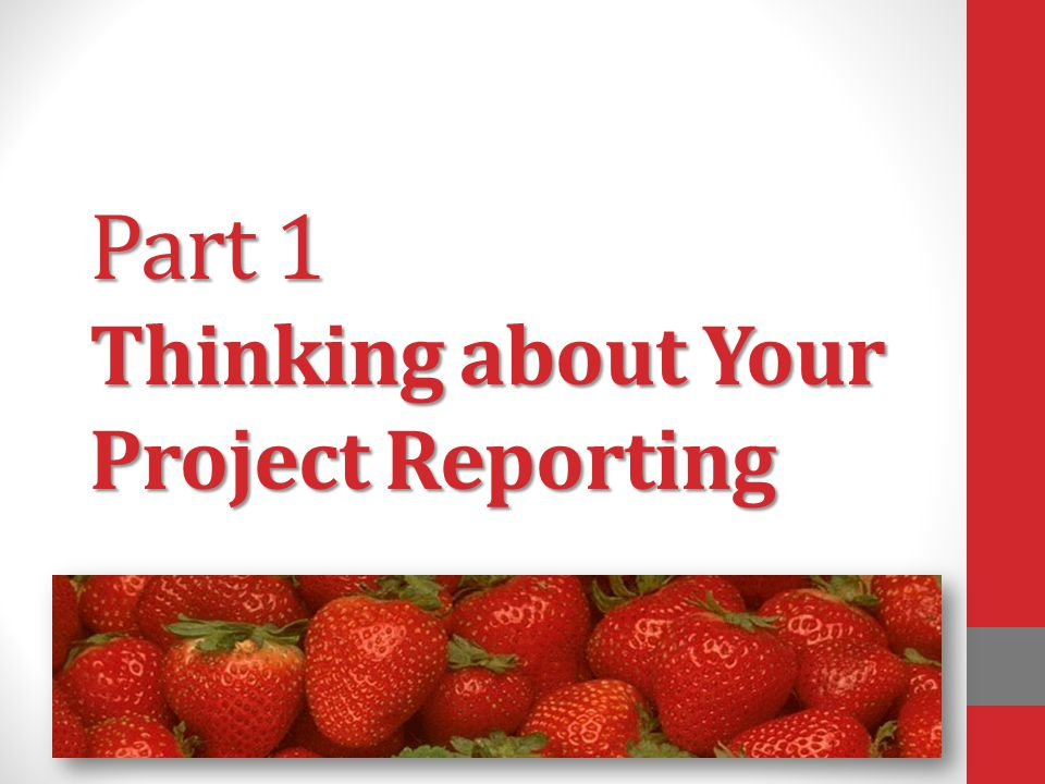 Part 1 Thinking about Your Project Reporting