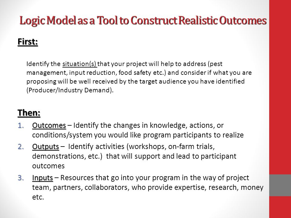NSSI Reporting: Outcomes List the outcomes of your project, i.e.