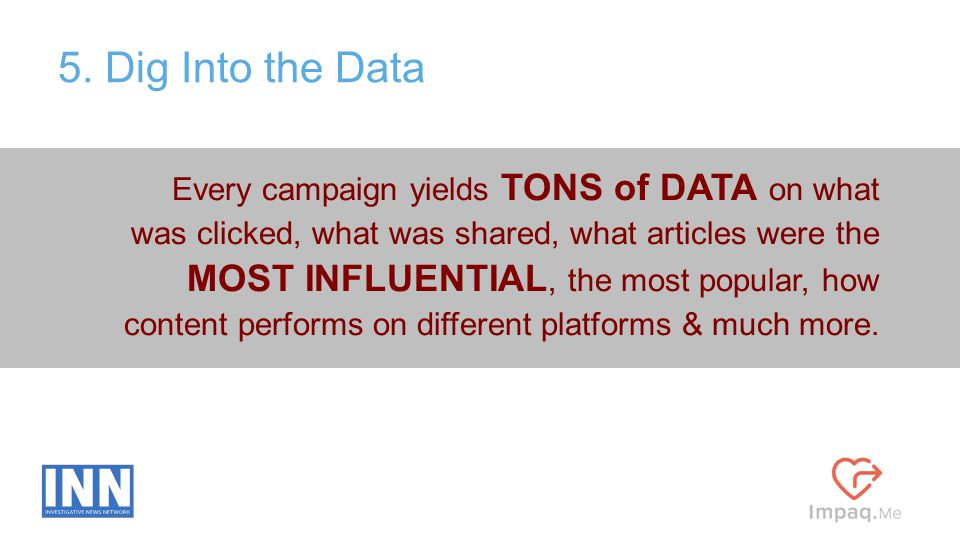 Every campaign yields TONS of DATA on what was clicked, what was shared, what articles were the MOST INFLUENTIAL, the most popular, how content perfor