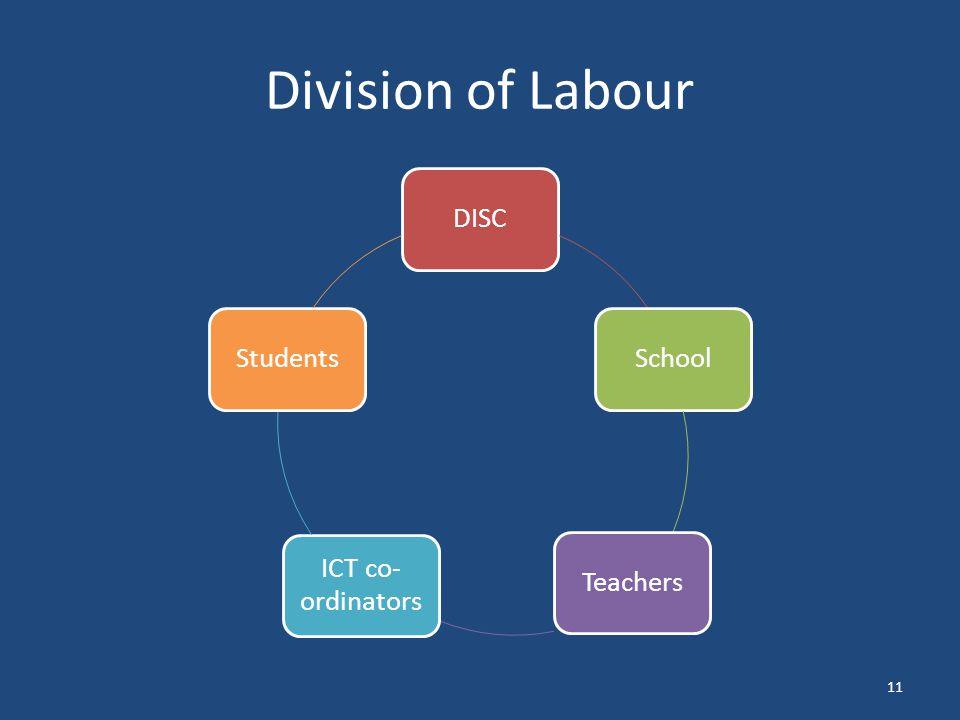 Division of Labour 11 DISCSchoolTeachers ICT co- ordinators Students