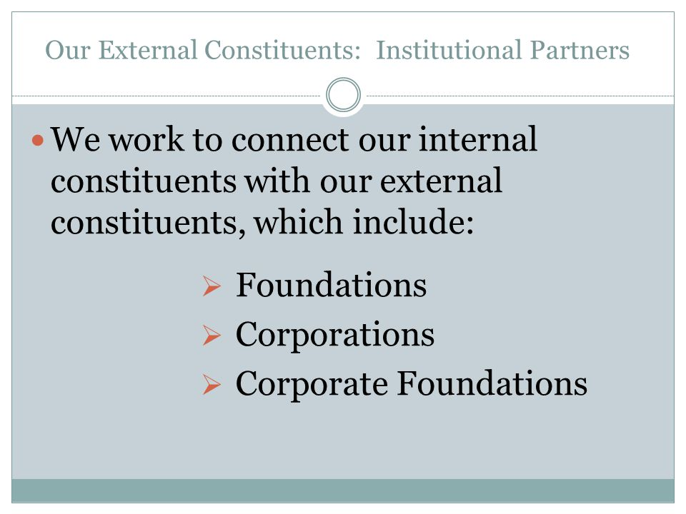 Our External Constituents: Institutional Partners We work to connect our internal constituents with our external constituents, which include:  Foundations  Corporations  Corporate Foundations