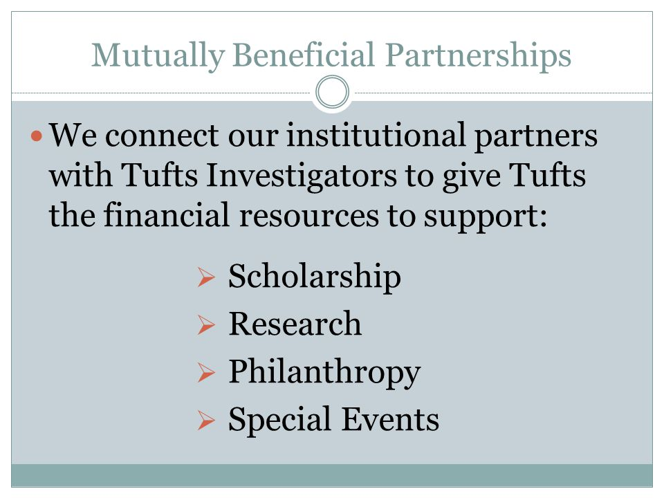Mutually Beneficial Partnerships We connect our institutional partners with Tufts Investigators to give Tufts the financial resources to support:  Scholarship  Research  Philanthropy  Special Events
