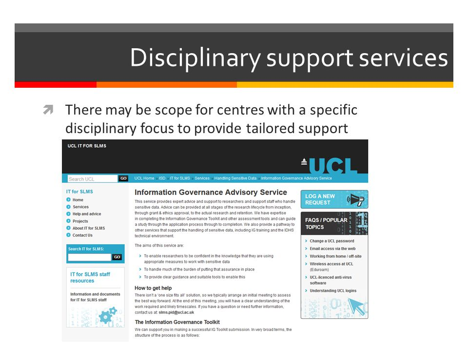 Disciplinary support services  There may be scope for centres with a specific disciplinary focus to provide tailored support