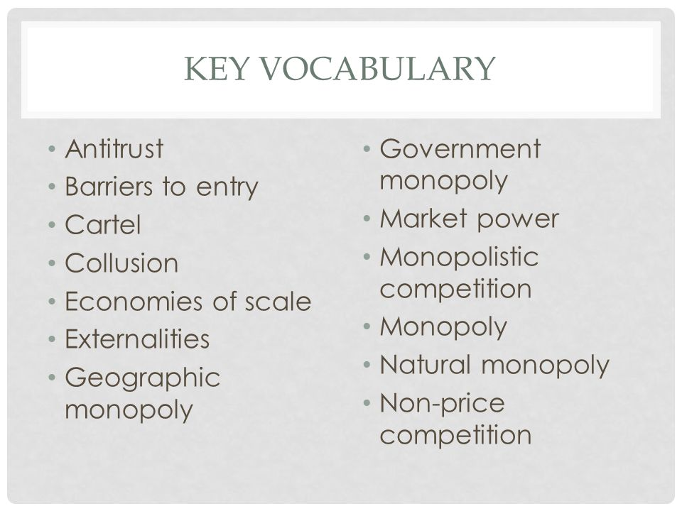 KEY VOCABULARY Antitrust Barriers to entry Cartel Collusion Economies of scale Externalities Geographic monopoly Government monopoly Market power Mono