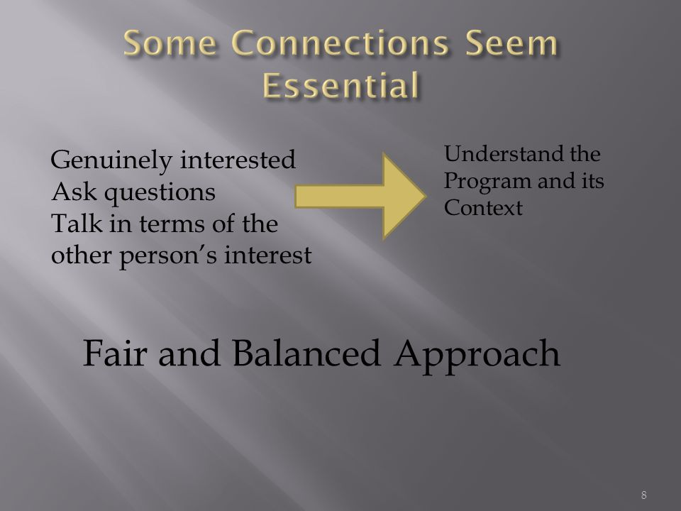 Genuinely interested Ask questions Talk in terms of the other person's interest Understand the Program and its Context Fair and Balanced Approach 8