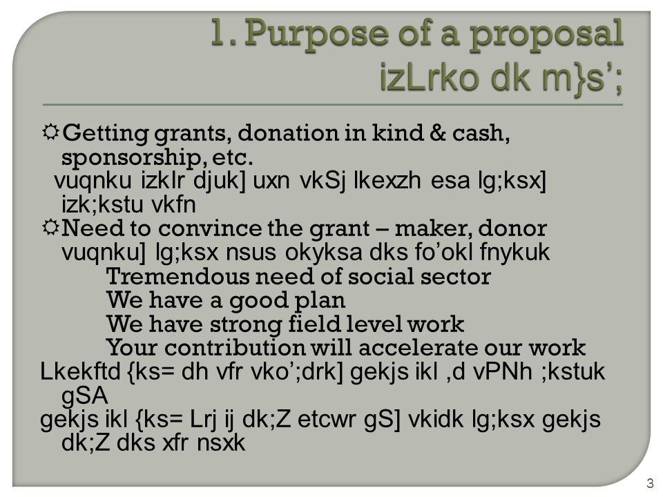  Covering letter vkoj.k i=  Title page 'kh kZd i` B  Summary lkjka'k  Organisational profile & experience (introduction) laLFkk dh :Ik js[kk vkSj vuqHko ( ifjp; )  Problem analysis/ need assessment leL;k dk fo'ys k.k @ vko';drkvksa dk vuqeku  Objectives m}s';  Project plan-Approach, Methodology, Work plan izdYi dh ;kstuk & n`f Vdks.k] dk;Ziz.kkyh] dk;Z] ;kstuk 4
