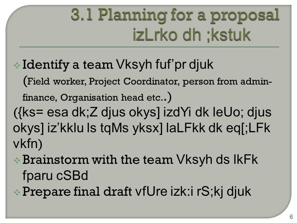  Identify a team Vksyh fuf'pr djuk ( Field worker, Project Coordinator, person from admin- finance, Organisation head etc..) ( {ks= esa dk;Z djus okys] izdYi dk leUo; djus okys] iz'kklu ls tqMs yksx] laLFkk dk eq[;LFk vkfn )  Brainstorm with the team Vksyh ds lkFk fparu cSBd  Prepare final draft vfUre izk:i rS;kj djuk 6