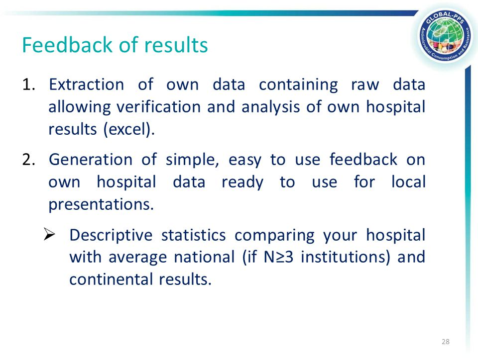 Feedback of results 1.Extraction of own data containing raw data allowing verification and analysis of own hospital results (excel).