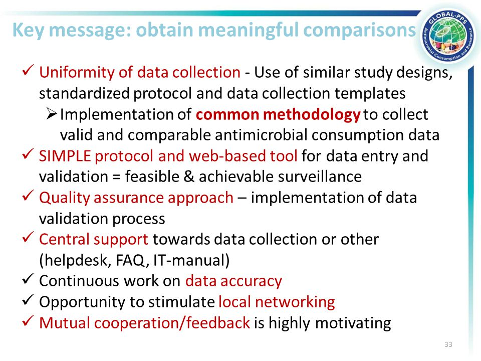 Key message: obtain meaningful comparisons Uniformity of data collection - Use of similar study designs, standardized protocol and data collection templates  Implementation of common methodology to collect valid and comparable antimicrobial consumption data SIMPLE protocol and web-based tool for data entry and validation = feasible & achievable surveillance Quality assurance approach – implementation of data validation process Central support towards data collection or other (helpdesk, FAQ, IT-manual) Continuous work on data accuracy Opportunity to stimulate local networking Mutual cooperation/feedback is highly motivating 33