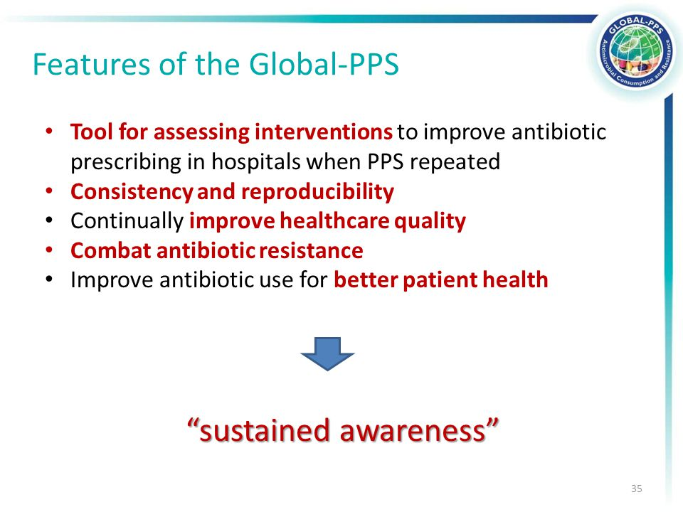 Tool for assessing interventions to improve antibiotic prescribing in hospitals when PPS repeated Consistency and reproducibility Continually improve healthcare quality Combat antibiotic resistance Improve antibiotic use for better patient health sustained awareness Features of the Global-PPS 35