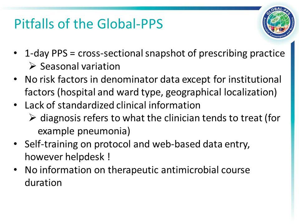 1-day PPS = cross-sectional snapshot of prescribing practice  Seasonal variation No risk factors in denominator data except for institutional factors