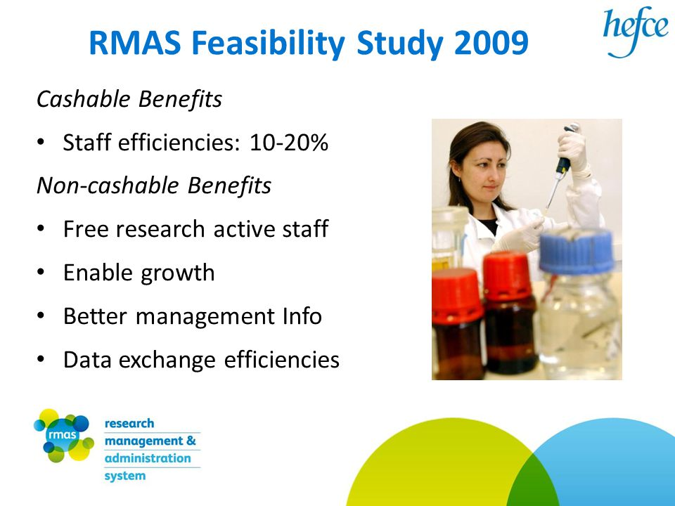 RMAS Feasibility Study 2009 Cashable Benefits Staff efficiencies: 10-20% Non-cashable Benefits Free research active staff Enable growth Better management Info Data exchange efficiencies