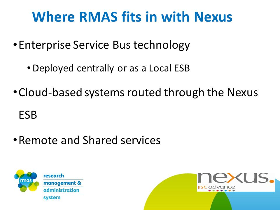 Enterprise Service Bus technology Deployed centrally or as a Local ESB Cloud-based systems routed through the Nexus ESB Remote and Shared services Where RMAS fits in with Nexus