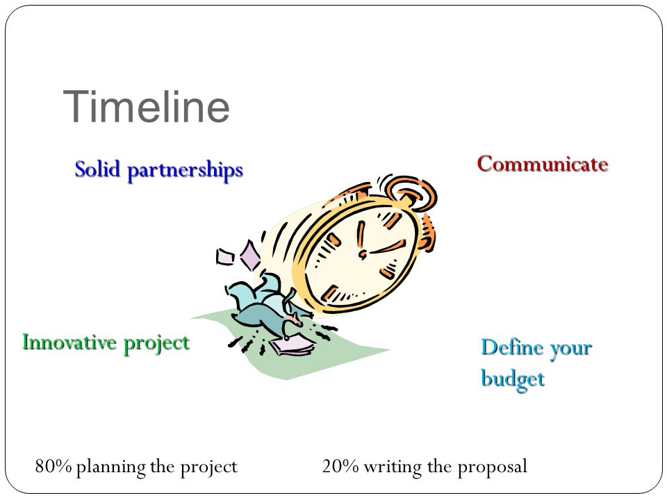 Timeline 80% planning the project 20% writing the proposal Solid partnerships Innovative project Communicate Define your budget