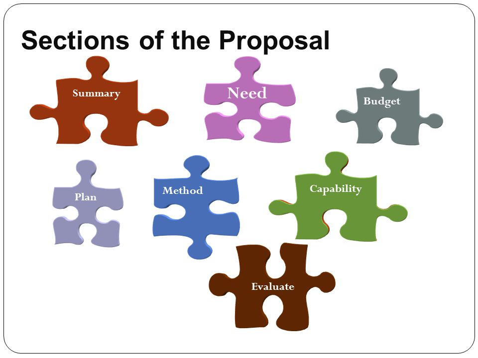 Sections of the Proposal Plan Need Evaluate Method Summary Budget Capability