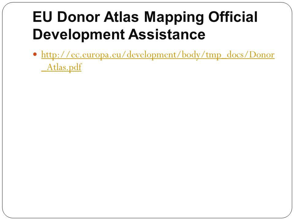 EU Donor Atlas Mapping Official Development Assistance http://ec.europa.eu/development/body/tmp_docs/Donor _Atlas.pdf http://ec.europa.eu/development/