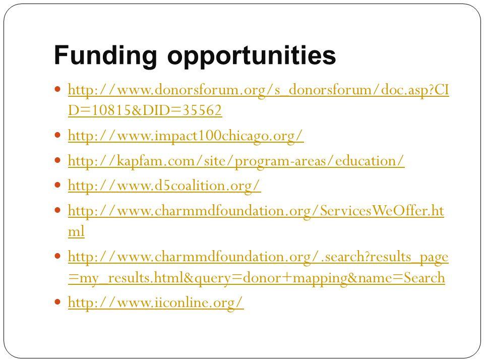 Funding opportunities http://www.donorsforum.org/s_donorsforum/doc.asp?CI D=10815&DID=35562 http://www.donorsforum.org/s_donorsforum/doc.asp?CI D=1081