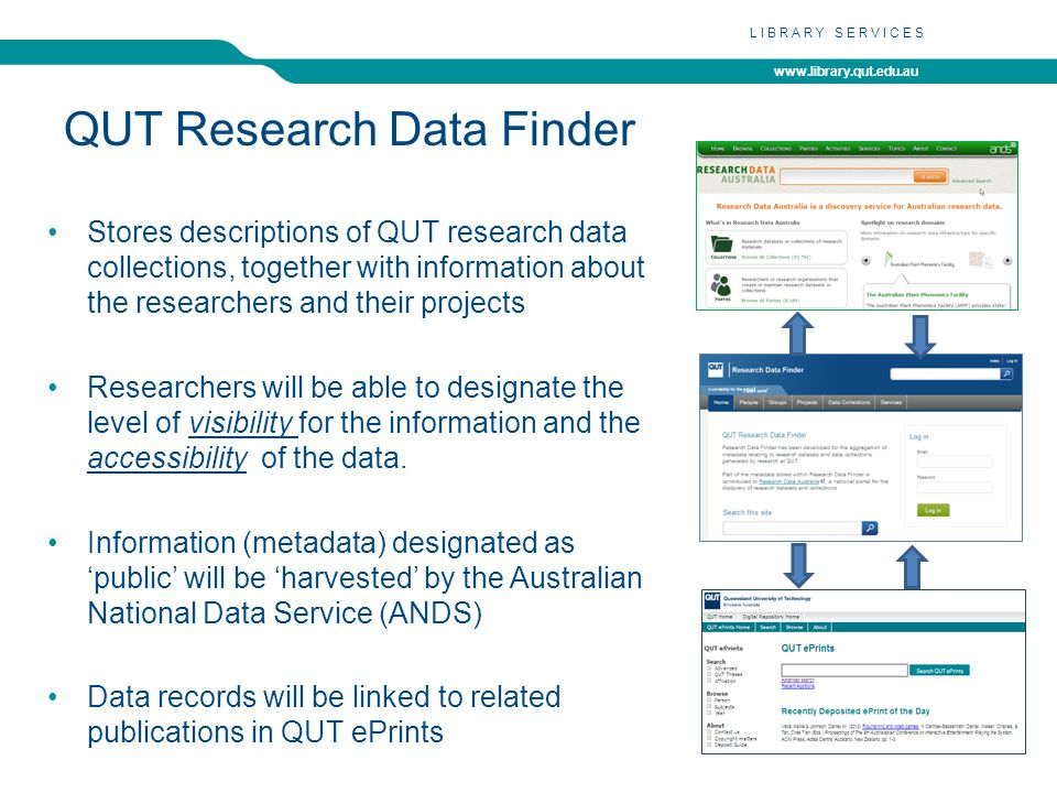 www.library.qut.edu.au LIBRARY SERVICES QUT Research Data Finder Stores descriptions of QUT research data collections, together with information about the researchers and their projects Researchers will be able to designate the level of visibility for the information and the accessibility of the data.