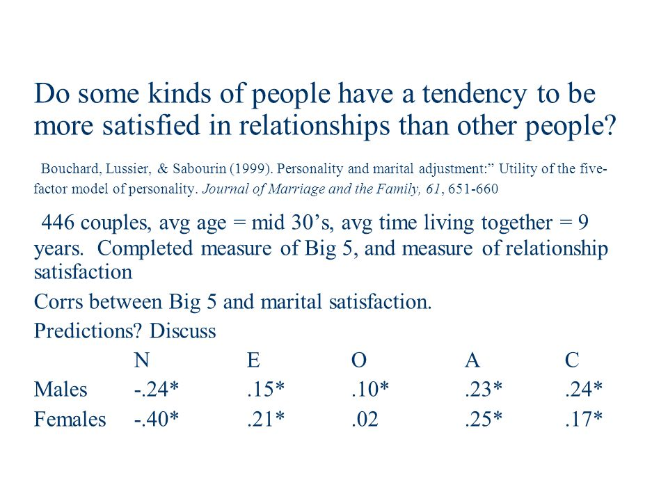 Do some kinds of people have a tendency to be more satisfied in relationships than other people.