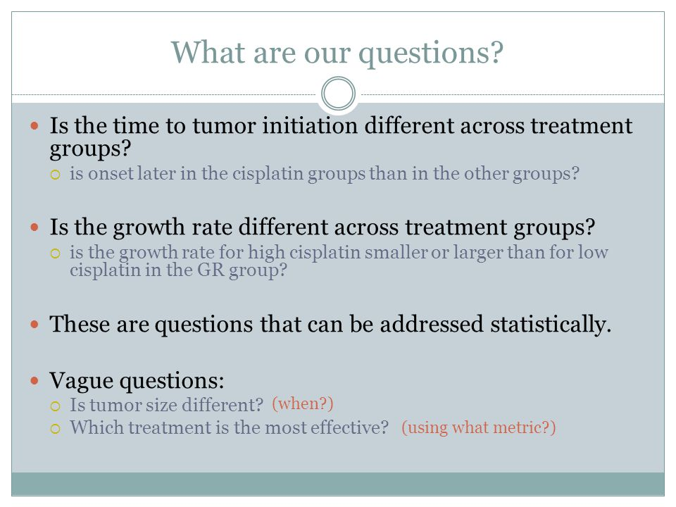 What are our questions. Is the time to tumor initiation different across treatment groups.