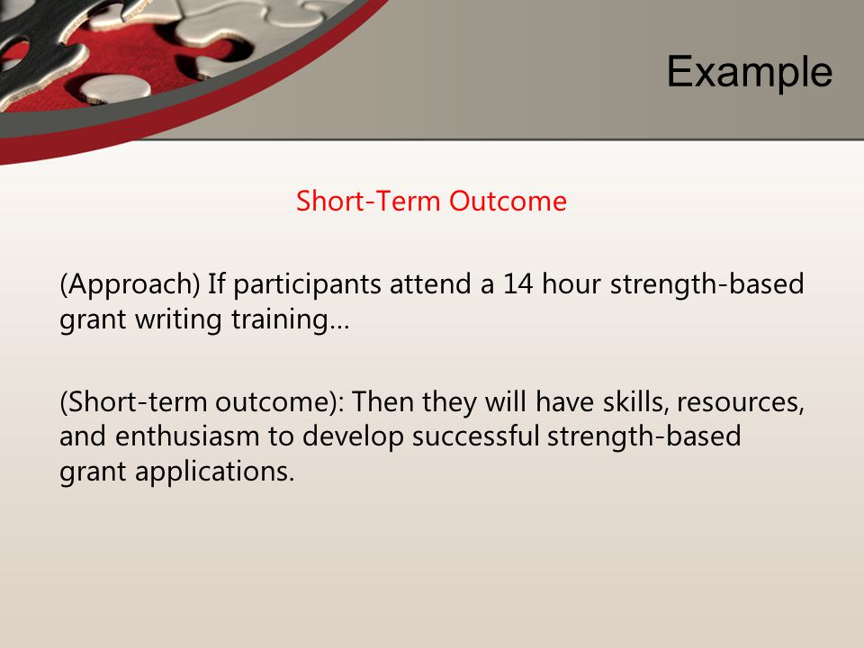 Example Short-Term Outcome (Approach) If participants attend a 14 hour strength-based grant writing training… (Short-term outcome): Then they will hav